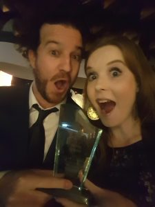 Two very surprised award winners
