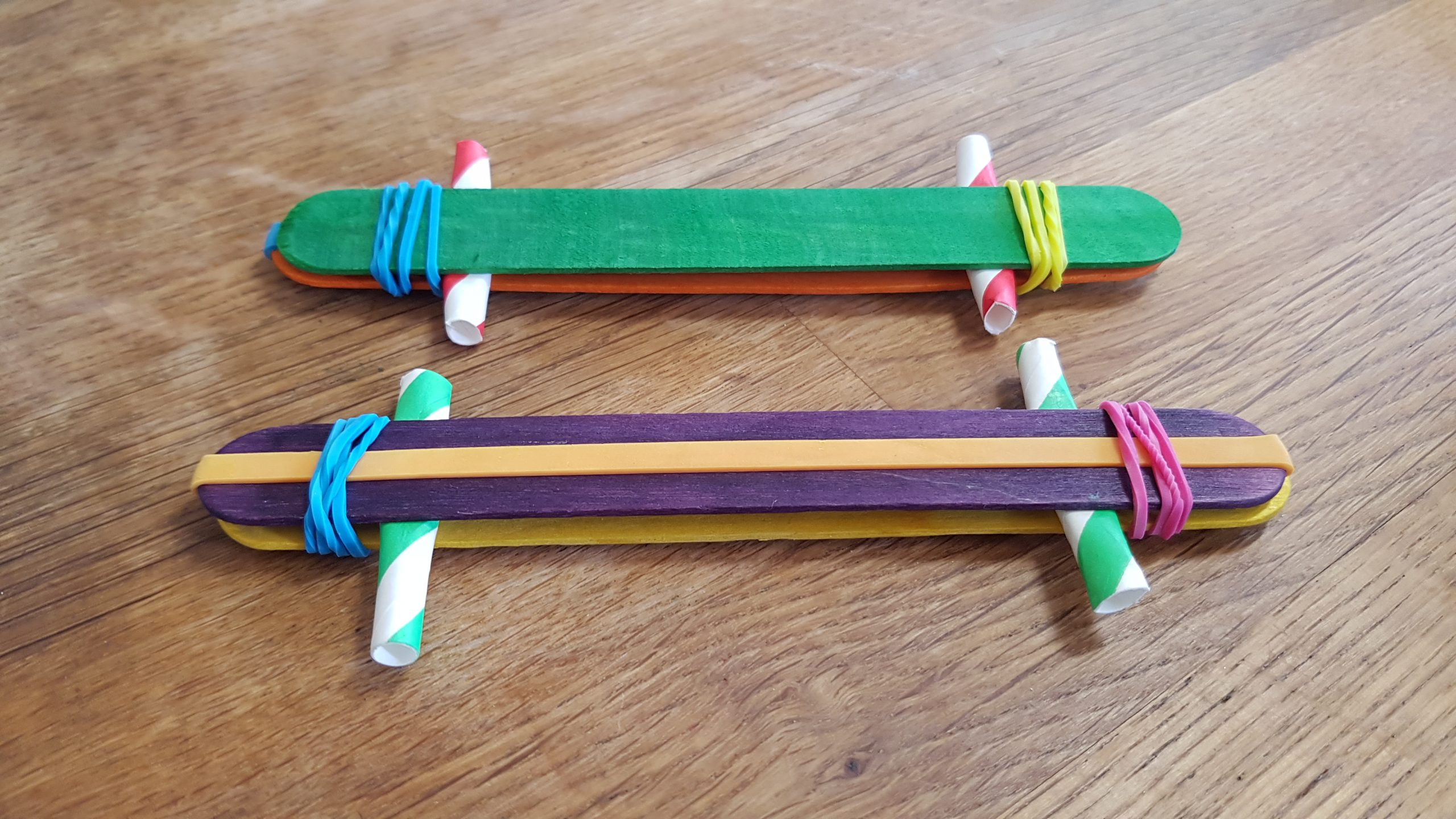 Two completed Popstick Harmonicas